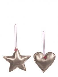 Maileg heart- / star- hanger silver