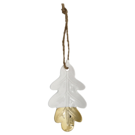 Greengate Ornament Ceramic Acorn leaf white/gold