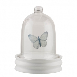 At Home stolp vlinder, glas met houten voet