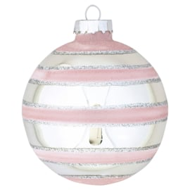 Greengate xmas ball glass stripe pale pink