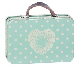 Maileg metal suitcase, dusty blue/dots