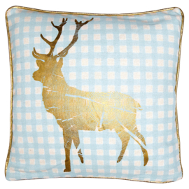 Greengate cushion cover pale blue gold deer piece/printed