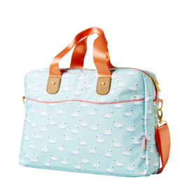 Rice laptop bag in Swan print, mint
