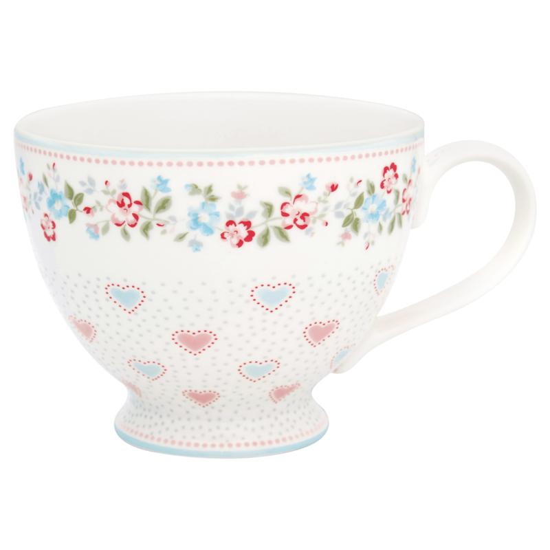 Greengate Stoneware Sonia white teacup