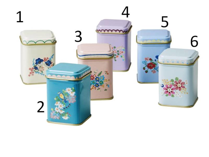 Rice mini tin spice jars, 6 assorti