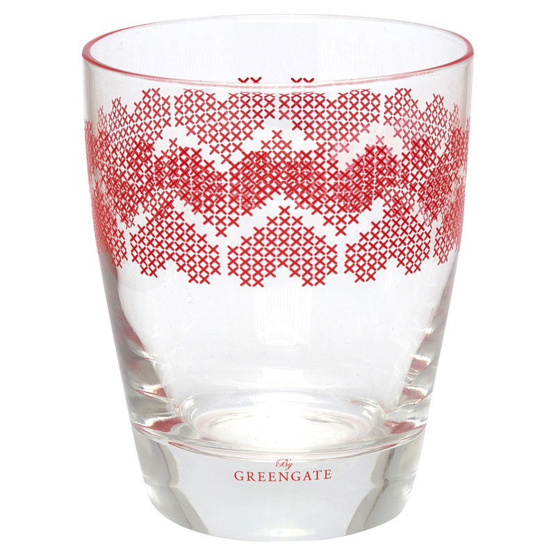 Greengate glass for drinks Mischa red