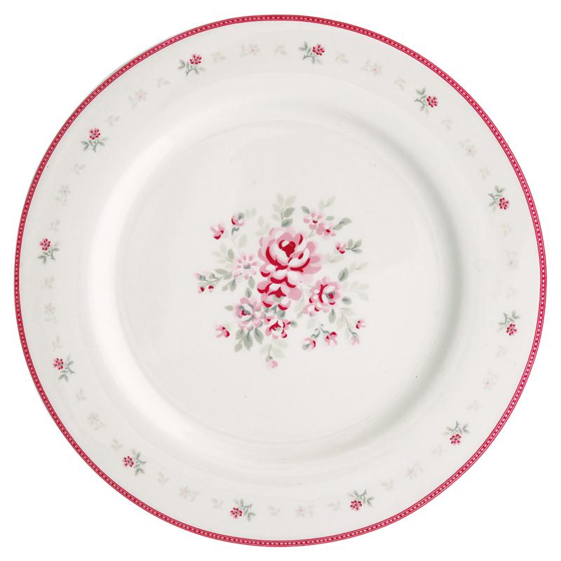 Greengate Stoneware Flora White dinnerplate