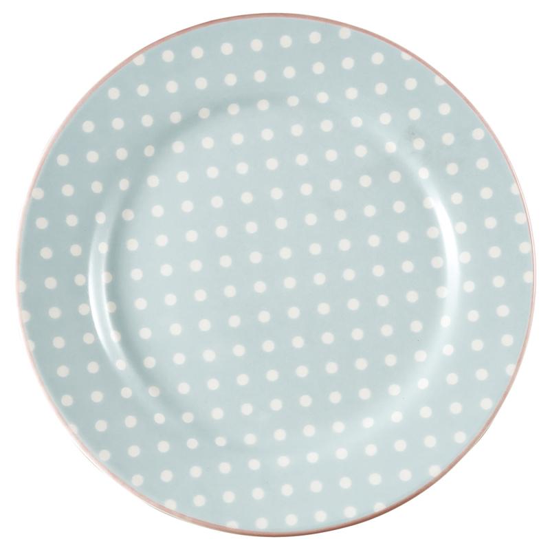 Greengate Stoneware Spot pale blue plate