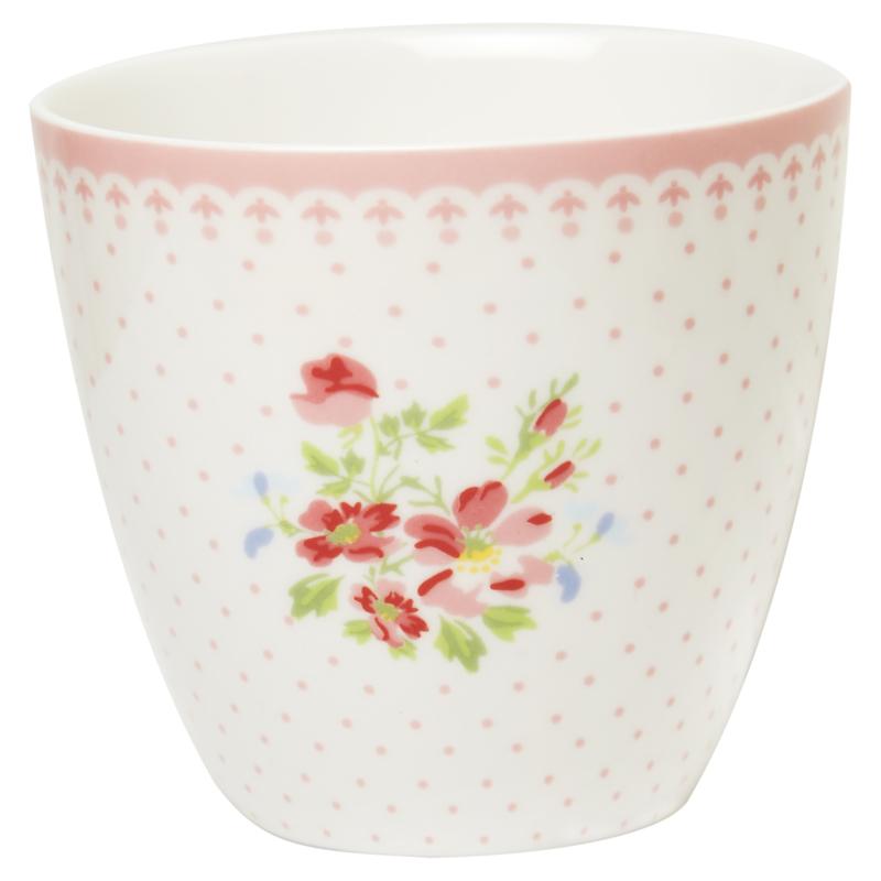 Greengate Stoneware Sinja white latte cup