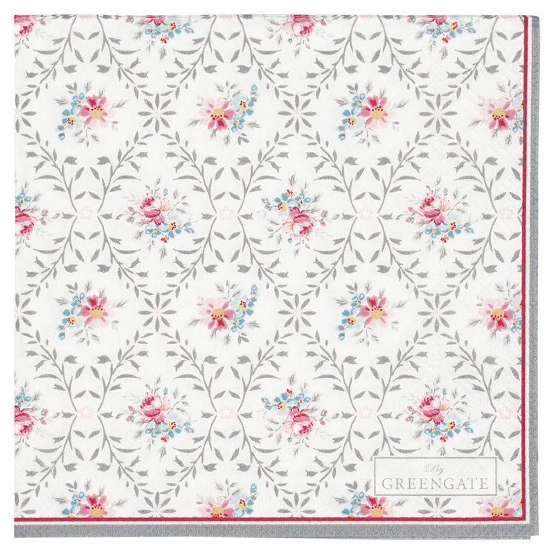 Greengate paper napkins Daisy pale grey small