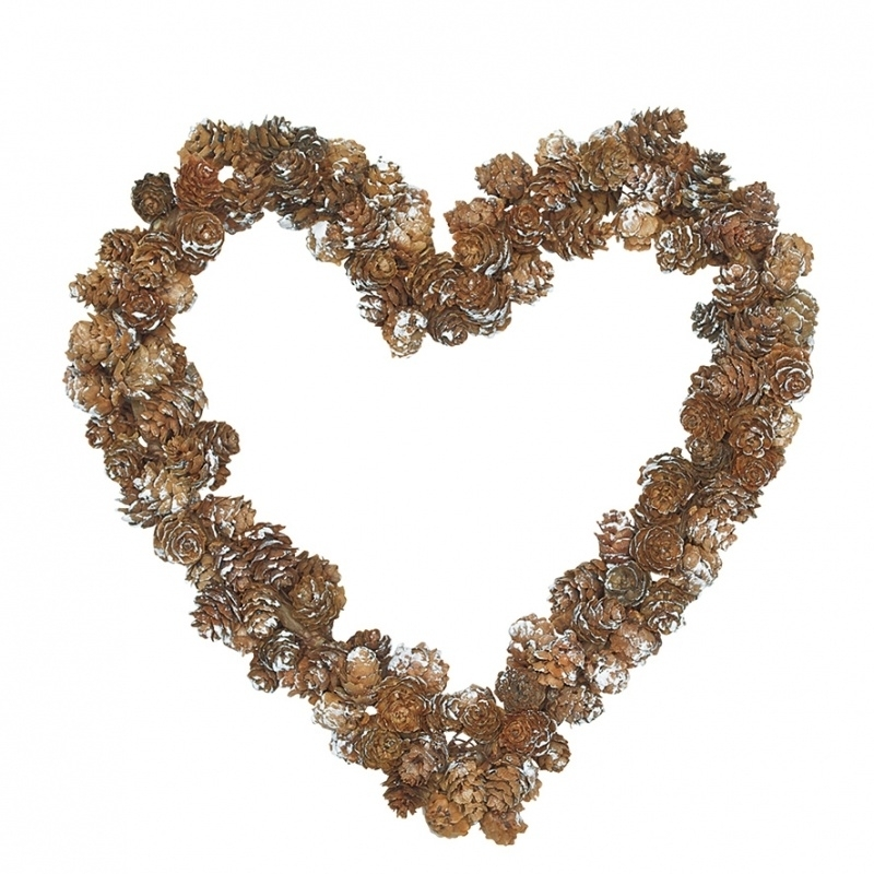 Greengate krans heart medium, met dennenappeltjes