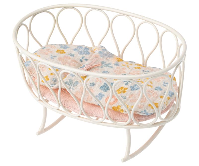 Maileg cradle w. sleepingbag off-white, xsmall baby