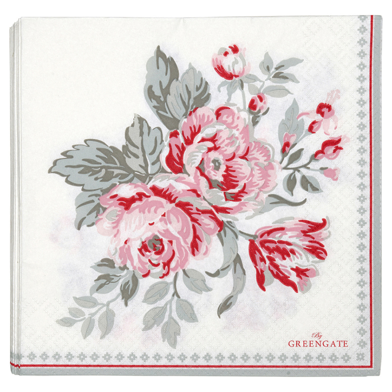 Greengate Paper napkins Shirley white large