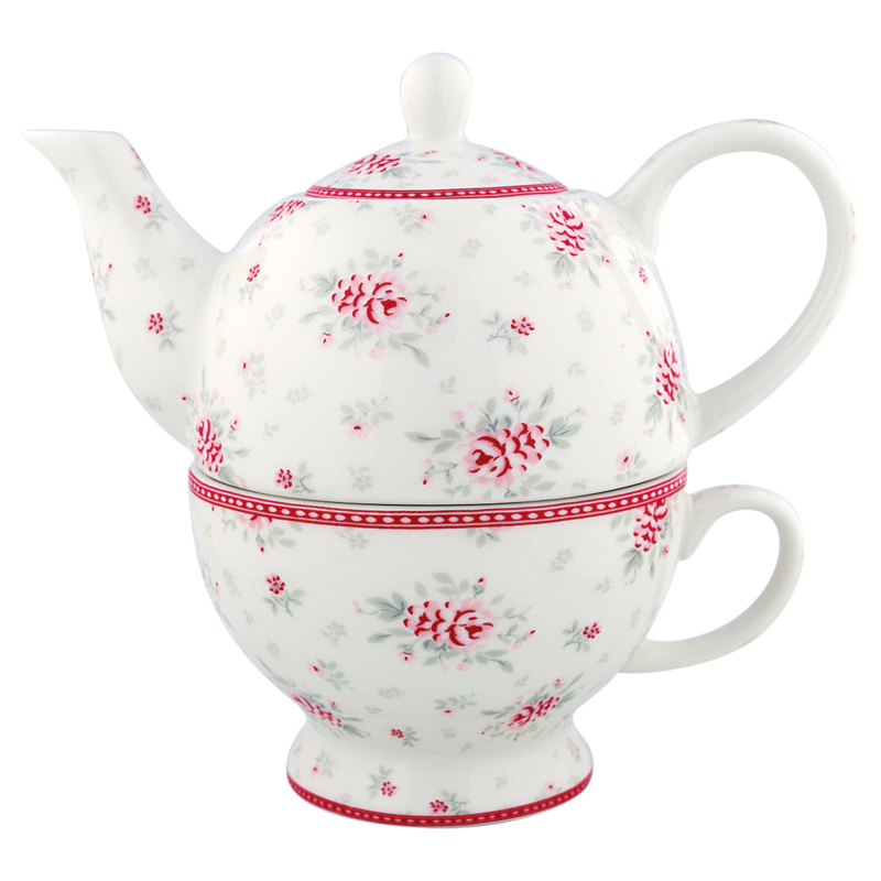 Greengate Stoneware Flora White tea for 1