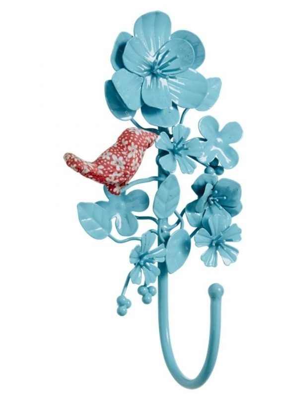 Rice metal hook with bird, turquoise