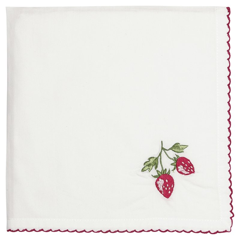 Greengate bread basket napkin Strawberry red w/embroidery