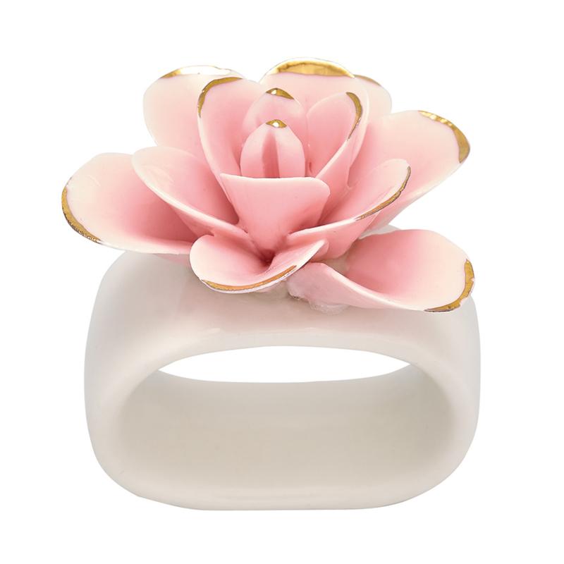 Greengate Ceramic Napkin ring Flower pale pink w. gold