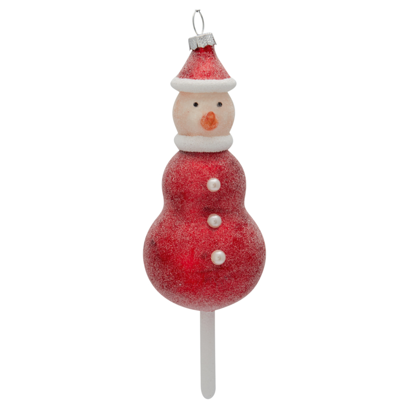 Greengate xmas glass Snowman red large hanger