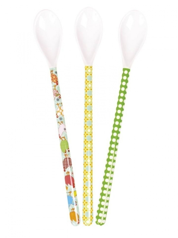 Rice Long Melamine spoons, 3 assorti