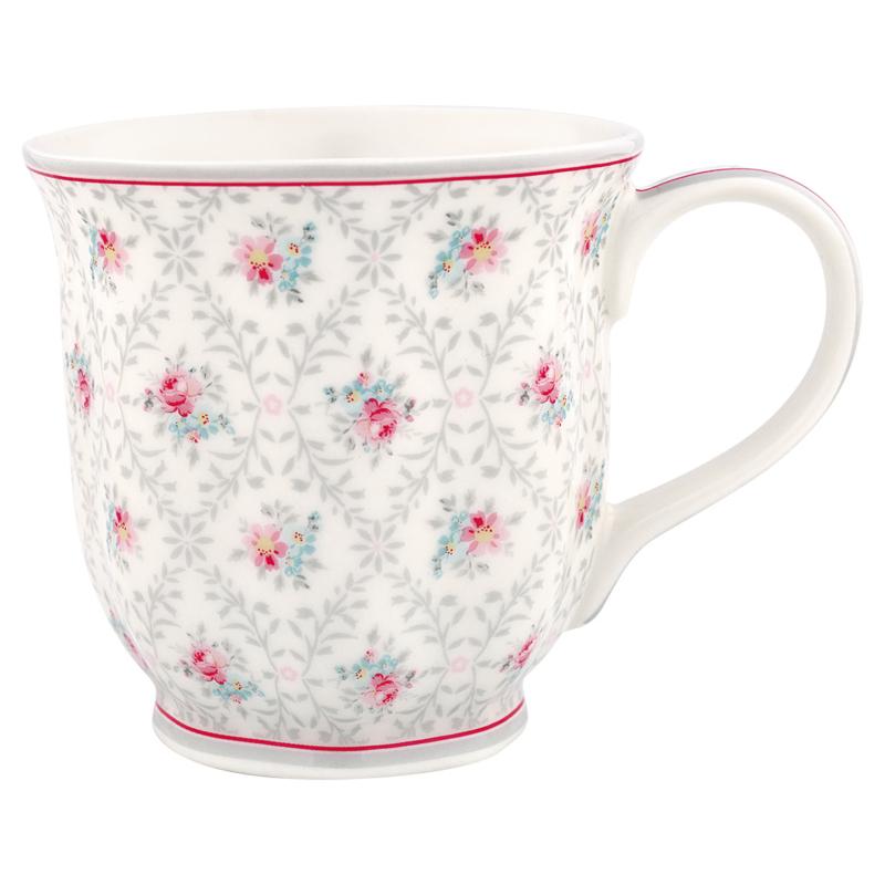 Greengate Stoneware Daisy pale grey mug