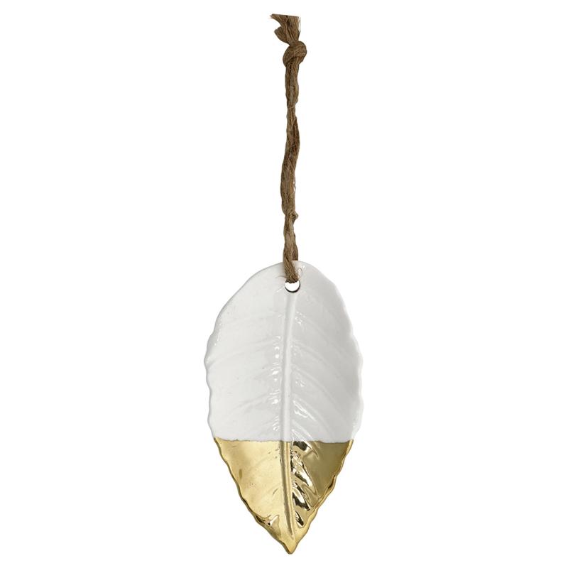 Greengate ornament Ceramic Bay leaf white/gold