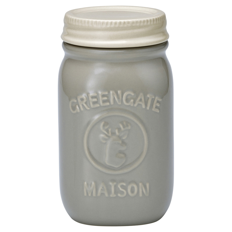 Greengate Jar Maison pale warm grey, H:15cm.