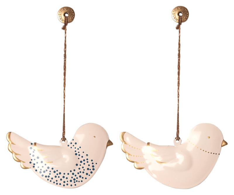 Maileg metal bird-hanger, white w. blue & gold, 2 assorti