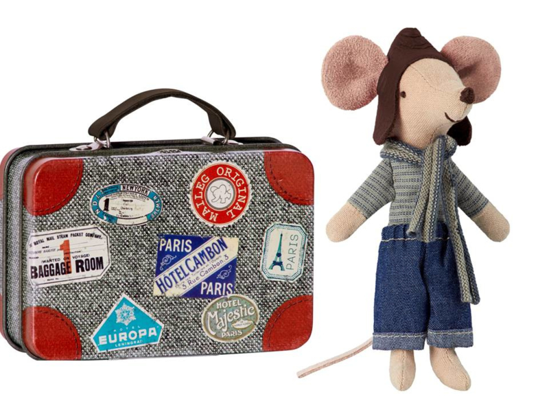 Maileg mouse big brother, racer in suitcase