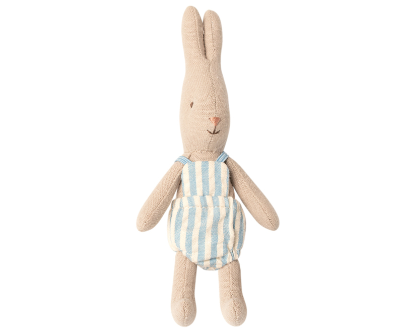 Maileg baby rabbit boy, + blue striped suit
