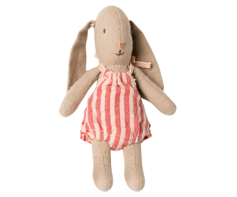 Maileg baby bunny girl, + red striped suit