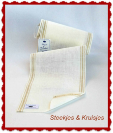200 cm stitching band linen,  width 170 mm white  with beige striped edge