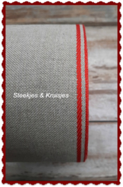 100 cm stitching band natural,  wide 100 mm,  with bright red deco border