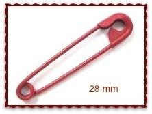 Veiligheidsspeldjes 28 mm antiek rood