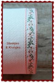 Borduurband Aida katoen 100 mm  met rose bloemenrandje