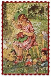 """Textiel transfer """"Meisje met handwerkje"""", afm.  ± 6 x 8 cm"""