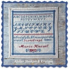 "S&K reproductie merklap ""Maria Knaust"" patroon of pakketje"