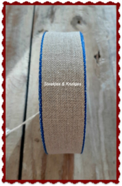 100 cm stitching band, wide 30 mm, natural with blue edge
