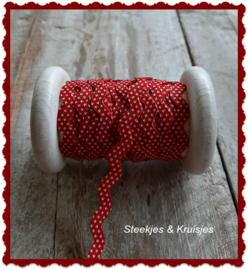 Zigzagband rood met witte stipjes