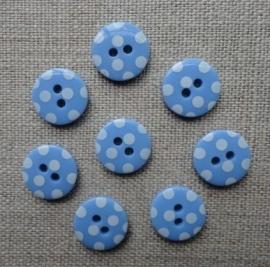 Lichtblauwe knoop met witte stipjes