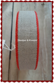 100 cm stitching band, wide 30 mm, natural with red edge