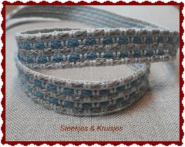 Linnen band in natuur/blauw