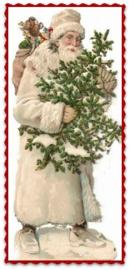 Transfer kerstman met boom en zak effen stof  ± 9 x 13 cm