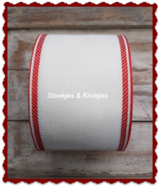 100 cm stitching band antique white,  wide 100 mm,  with  red deco border