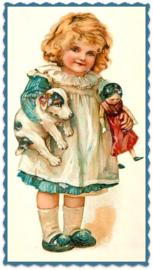 """Textiel transfer """"Meisje met hondje en pop"""", afm.  ± 6 x 8 cm"""