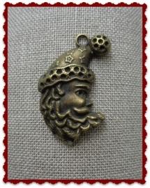 Kerstmanhoofd brons groot