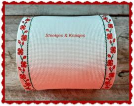 Borduurband Aida linnen-katoen 120 mm met rood bloemenrandje