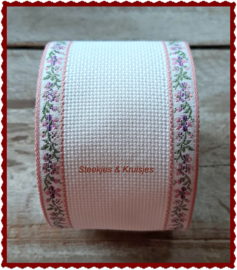 Borduurband Aida katoen 60 mm breed met oudrose bloemenrandje