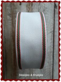 Borduurband Aida 55 mm breed met rood/groene rand