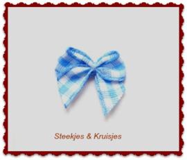 Mini strikje blauw geruit