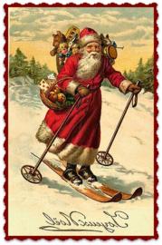 Transfer kerstman op skies  ± 9 x 13 cm